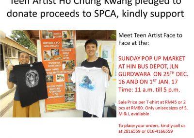T-shirt sale by child artist HO Chung Kwang-